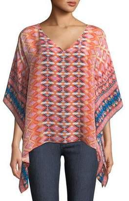 Tolani Briyana Graphic-Print Silk Tunic Top, Plus Size