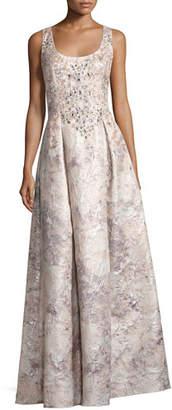 Aidan Mattox Sleeveless Beaded Floral Brocade Gown, Mink
