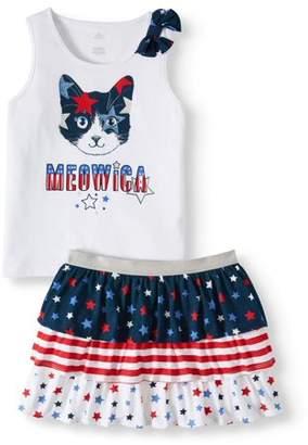 Americana Girl's Graphic Bow Tank/Girl's Print Tiered Skirt (Little Girls & Big Girls)