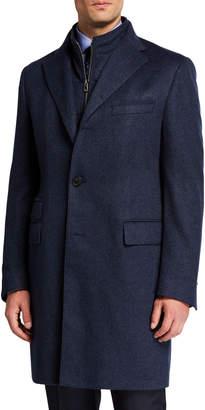 Corneliani Men's Cashmere Top Coat w/ Removable Dickey