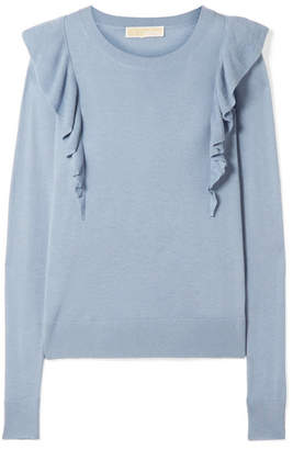 MICHAEL Michael Kors Ruffle-trimmed Knitted Sweater - Sky blue