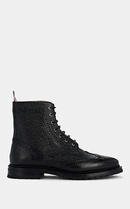 Thom Browne Women's Pebbled Leather Wingtip Ankle Boots - Black