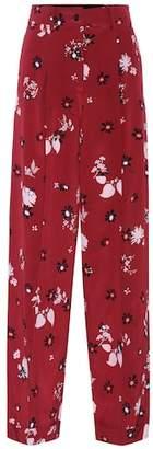 Valentino Printed silk-crêpe trousers