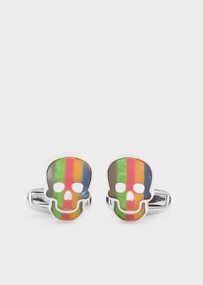 Paul Smith Men's Multi-Colour Stripe Skull Mother-Of-Pearl Cufflinks