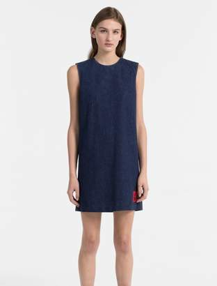 Calvin Klein denim logo patch shift dress