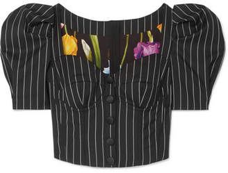 Dolce & Gabbana Pinstriped Wool-blend Bustier Top - Black
