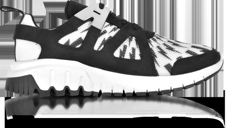 Neil Barrett Molecular Black Neoprene and White Printed Nylon Runner Sneakers