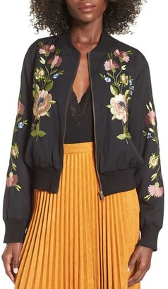 Women's Glamorous Floral Embroidered Bomber Jacket $115 thestylecure.com