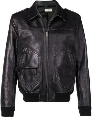 Saint Laurent zipped leather jacket