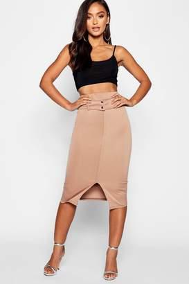 boohoo Petite Stitch Belted Scuba Midi Skirt