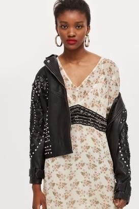 Topshop Embellished Waist Midi Dress