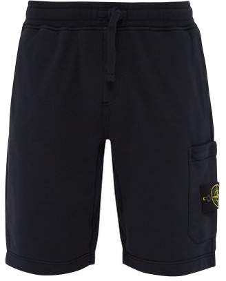 Stone Island Mid Rise Cotton Shorts - Mens - Navy