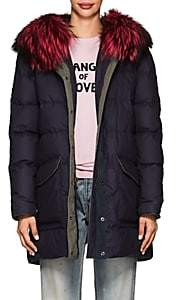 Mr & Mrs Italy Women's Fur-Trimmed Down-Quilted Cotton-Blend Parka-Navy