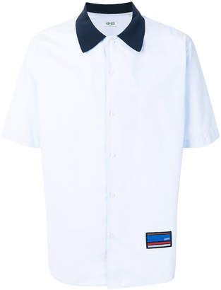 Kenzo contrast collar bowling shirt