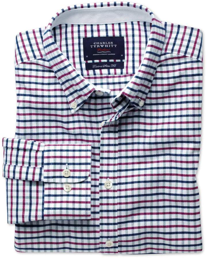 Extra Slim Fit Navy and Berry Tattersall Washed Oxford Cotton Casual Shirt Single Cuff Size Medium by Charles Tyrwhitt