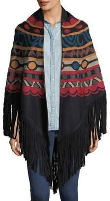 Talitha Collection Massai Intarsia Wool-Blend Shawl Cape