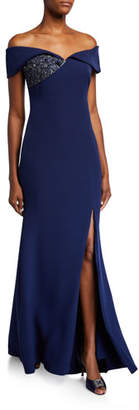 Badgley Mischka Off-the-Shoulder Gown with Beaded Detail & Thigh Slit