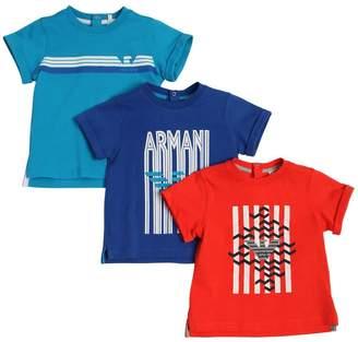 Armani Junior Set Of 3 Printed Cotton Jersey T-Shirts