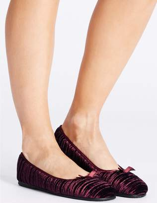 Marks and Spencer Striped & Embossed Ballerina Slippers