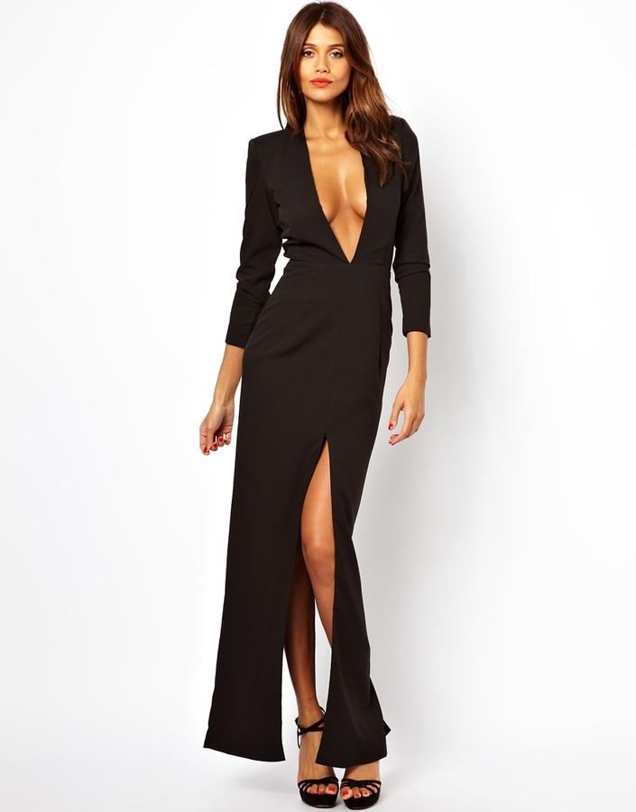 Aq/Aq AQ AQ Pasty Maxi Dress With Plunge Neck And High Split - Black