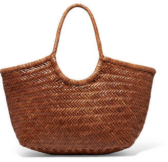 Dragon Optical Diffusion - Nantucket Large Woven Leather Tote - Tan