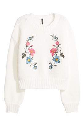 H&M Knit Sweater with Embroidery - White/flowers - Women