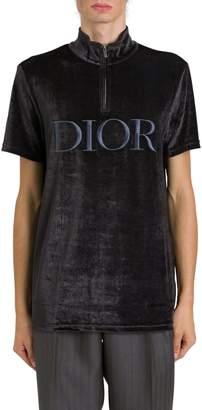 Christian Dior Logo Embroidered Velvet Tee