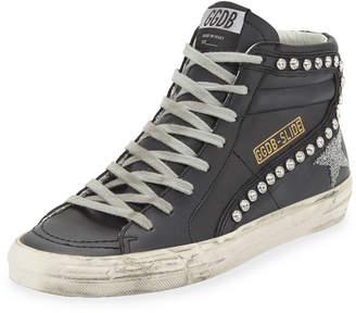 Golden Goose Leather Crystal-Embellished High-Top Sneakers