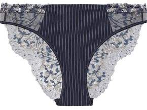 La Perla Embroidered Tulle And Stretch-Silk Low-Rise Briefs