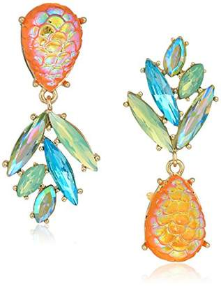 Betsey Johnson GBG) Paradise Lost Women's Pineapple Mismatch Drop Earrings