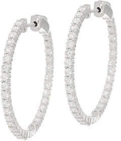 Affinity Diamond Jewelry Diamond Hoop Earrings, 14K Gold, 2.75 cttwby Affinity