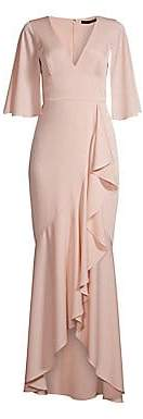 BCBGMAXAZRIA Women's V-Neck Slit Sleeve Ruffle Gown - Size 0
