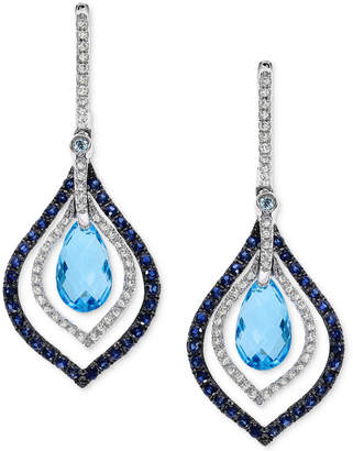 Effy Blue Topaz and Sapphire (4-5/8 ct. t.w.) and Diamond (1/3 ct. t.w.) Drop Earrings in 14k White Gold
