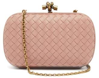 Bottega Veneta Knot Intrecciato Leather Clutch - Womens - Dark Pink