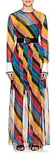 Philosophy di Lorenzo Serafini WOMEN'S STRIPED CHIFFON MAXI DRESS SIZE 42 IT