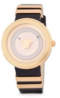 Versace Logo Stainless Steel and Leather-Strap Watch