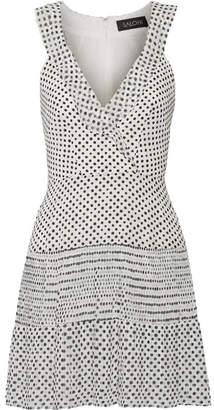 Saloni Amy Pleated Polka-dot Silk-chiffon Mini Dress - White