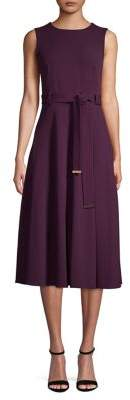 Calvin Klein V-Neck Waist Tie Midi Dress