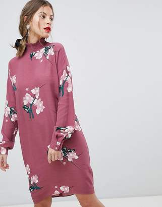 Vila High Neck Floral Dress