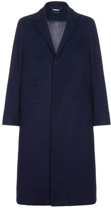 He & DeFeber - Midnight Blue Curved Sleeve Wool Clutch Overcoat