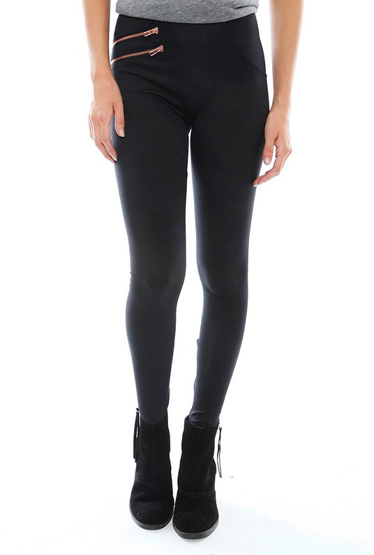LnA Miranda Legging in Black with Rose Gold Zippers