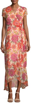 Neiman Marcus Floral-Print Short-Sleeve Maxi Dress $89 thestylecure.com