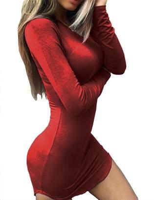 Haola Women's Sexy Bodycon Tight Long Sleeve Mini T Shirts Dresses Irregular Hem XL