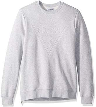 GUESS Men's Long Sleeve Roy Embellishedoshort Sleeveed Logo Crew