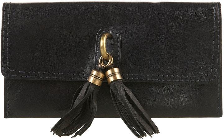 Topshop Navy Leather Tassle Lock Purse