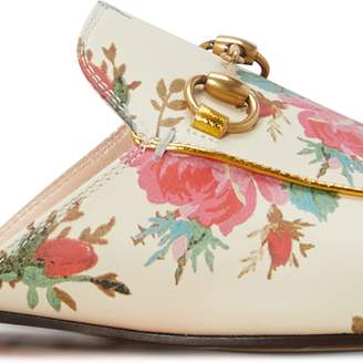 Gucci Princetown rose print leather slippers