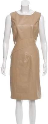 Oscar de la Renta Leather Sheath Dress