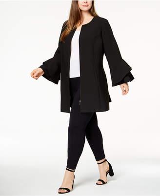 Alfani Plus Size Flared-Sleeve Collarless Jacket