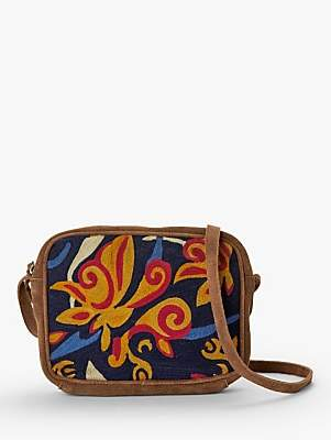 Nice Things Cornerly Embroidered Leather Cross Body Bag, Tan/Multi