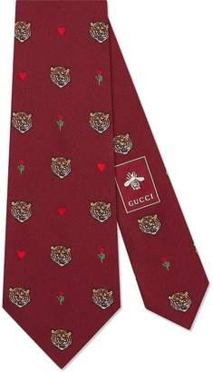 Gucci Tigers pattern silk tie